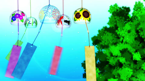 Japanese Traditional Summer With Wind Chimes, Blue And Green Background, Loop Animation
