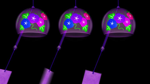 Japanese Traditional Summer With Wind Chimes, Black Background, Loop Animation Animation