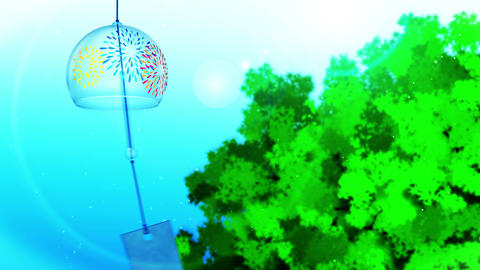 Japanese Traditional Summer With Wind Chime, Blue And Green Background, Loop Animation