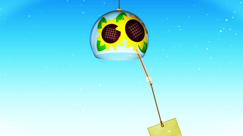 Japanese Traditional Summer With Wind Chime, Blue…, Stock Animation