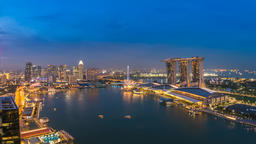 Singapore business district city skyline high angle view day to night timelapse, Footage