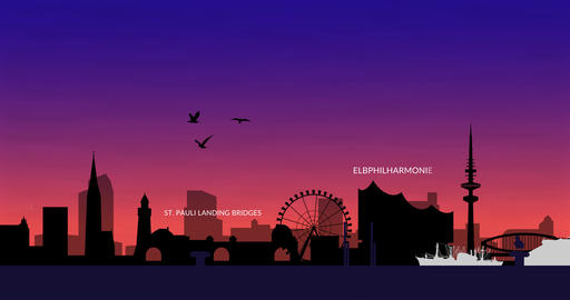 Hamburg and its landmarks. Skyline. Abstract 4K animation in 2D Animation