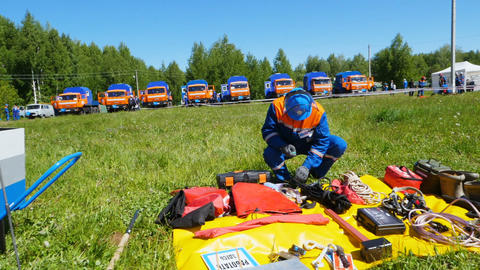 rescue service candidate approaches training equipment Footage