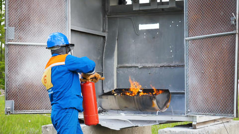 candidate for firefighters extinguishes fire at training ground Footage