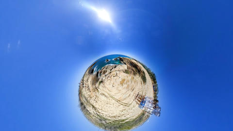 spherical wide angle people stand on ocean rocky coast on... Stock Video Footage