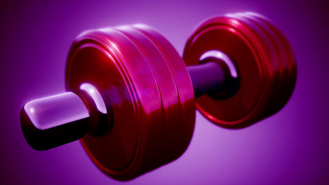 metal dumbbell rotate on colored background Footage