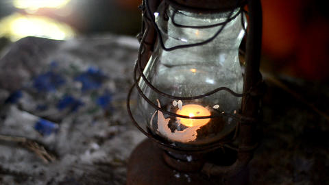 old kerosene lamp stands in an old house close up Footage