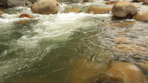Mountain River Scene Panning Panoramic High Definition Footage