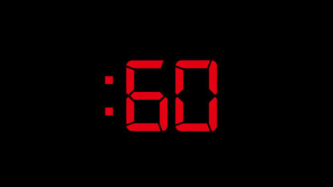 2D Red 60 Seconds Digital Countdown Motion Graphic Element Animation