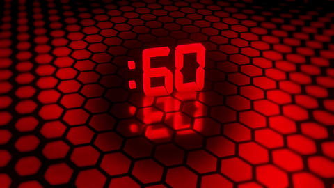 3D Red 60 Seconds Countdown with Hexagonal Floor Background V2 Animation