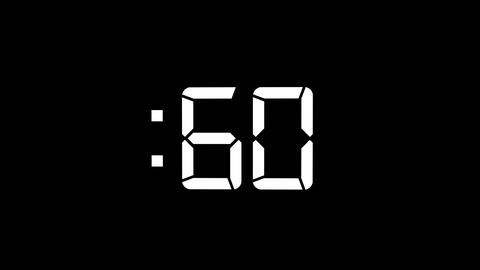 2D White 60 Seconds Digital Countdown Motion Graphic Element Animation