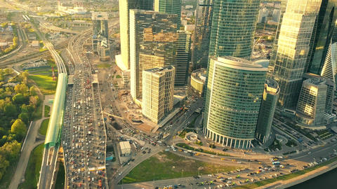 MOSCOW, RUSSIA - MAY, 22, 2017. Aerial shot of city highway traffic jam in the Footage