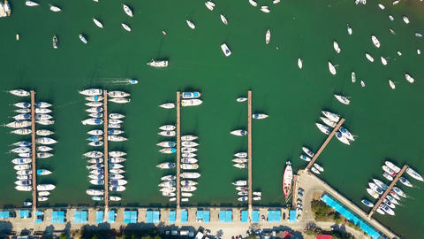 Parked boats, motorboats and sailboats Footage