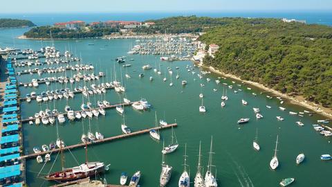 Boats, motorboats and sailboats at the Adriatic sea marina Footage