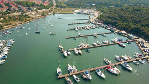 Mediterranean marina piers and anchored boats and yachts Footage
