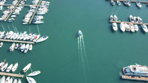 PULA, CROATIA - AUGUST 2, 2017. Aerial shot of speeding motorboat near marina Footage