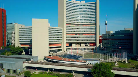 VIENNA, AUSTRIA - JULY 31, 2017. Aerial view of United Nations UNO city Footage
