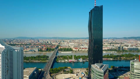 The city of Vienna as seen from Donaustadt Austria Footage