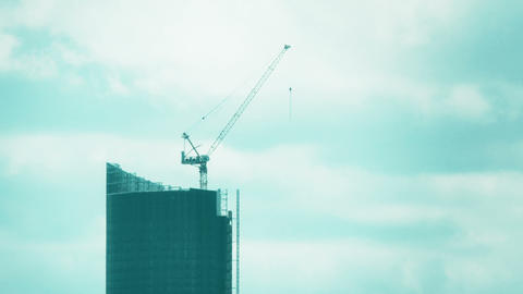 Closeup shot of a skyscraper under construction Footage