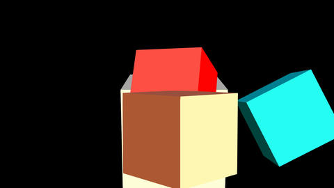 Outro animation The end with moving cubes, red inscription, 3d footage Animation