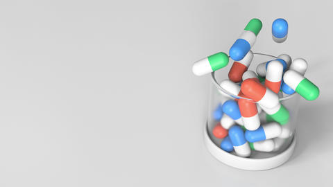 Putting antidote drug capsules into a jar. Conceptual 3D animation Footage