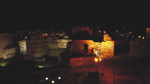 Aerial Night view of Fortifications at the entrance of Nesebar Live Action