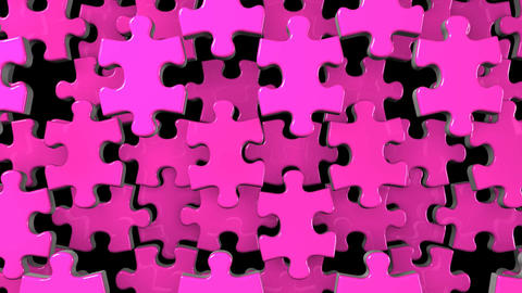 Pink Jigsaw Puzzle On Black Background CG動画