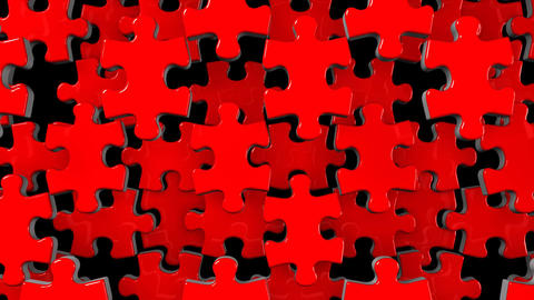 Red Jigsaw Puzzle On Black Background Animation