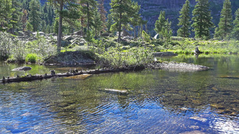Clear water and bright sky in the blue Lake Footage