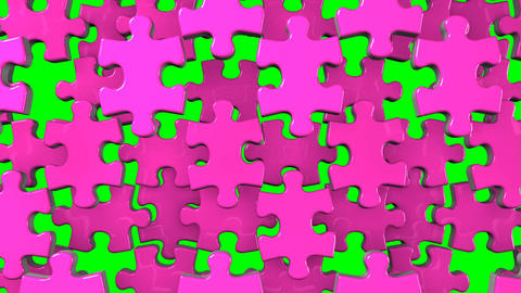 Pink Jigsaw Puzzle On Green Chroma Key Animation