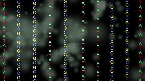 ATCG in DNA.Floating particles in background Animation