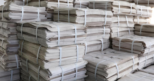 Huge piles of printed newspapers printing shop Footage