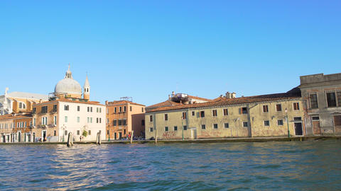 Excursion in Venice, view on Grand Canal and ancient buildings, water tour Footage
