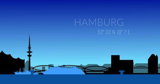 Hamburg and its landmarks. Skyline. Abstract 4K animation... Stock Video Footage