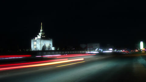 Highway. Timelapse at night. Kiev (Original) 4K Footage