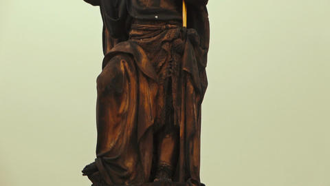 Detail of a Religious Statue in Charles Bridge Prague Footage