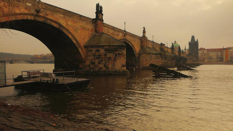 Vltava River Flowing Under Charles Bridge in Prague Footage