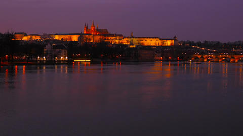 Timelapsed Wide Static Shot of the Vltava River and Prague Castle at Dusk Footage