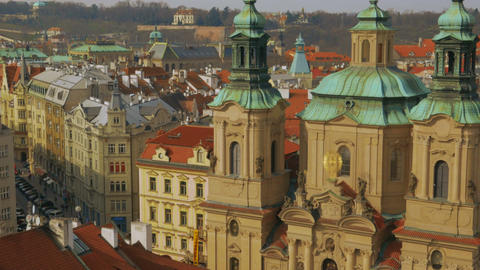Aerial Shot of the St Nicholas Church in Prague Footage