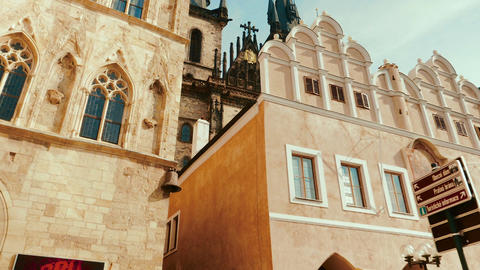 POV Walking Shot from the Old Town Square to the Church of Our Lady before Tyn Footage