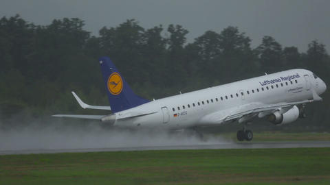 Embraer 190 accelerates and take-off Live Action