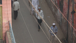 People on the narrow streets of Agra Footage