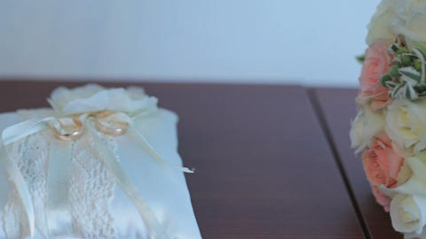 wedding bouquet and rings Footage