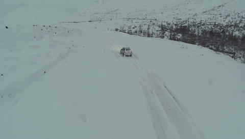 Driving On Winter Snowy Road Footage
