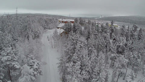 Aerial view of winter camp in pine forest Footage
