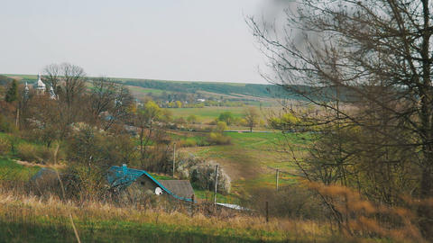 Landscape panorama. View of the village Footage