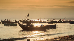 Fishing Boat Silhouettes in Sea Bay at Sunset in Vietnam Footage