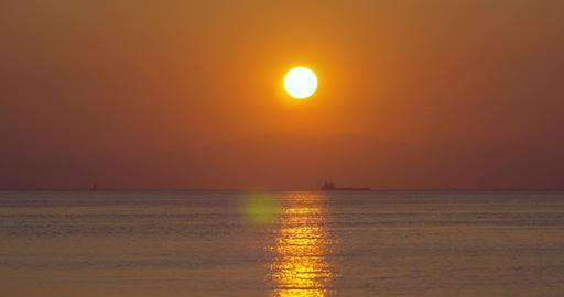 Golden sunset over quiet sea Footage