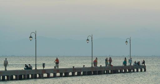Sea Pier at Dawn in Greece Footage