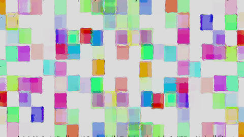 Mosaic Tile Colored Squares On White Moving Background Animation